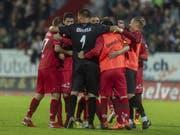 Der FC Winterthur feiert den zweiten Sieg in dieser Saison gegen einen Super-League-Verein (Bild: KEYSTONE/MELANIE DUCHENE)