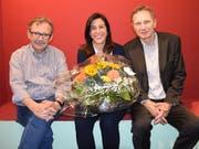 Die designierte Maz-Direktorin Martina Fehr mit ihrem Vorgänger Diego Yanez (links) und Maz-Stiftungsratspräsident Res Strehle. (Bild: Emiliana Salvisberg)