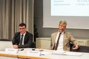 Finanzchef Reto Angehrn und Stadtpräsident Anders Stokholm geben über die Frauenfelder Finanzlage Auskunft. (Bild: PD)