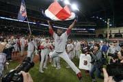 Die späte Erlösung. Die Washington Nationals feiern den Sieg in der World Series, der Finalserie der besten Baseball-Liga der Welt. (Bild: AP Photo/David J. Phillip)