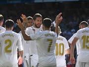 Eden Hazard (Nummer 7) freut sich über sein erstes persönliches Erfolgserlebnis bei den Königlichen (Bild: KEYSTONE/EPA EFE/FERNANDO VILLAR)