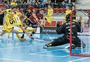 Der Sarner Jonas von Wyl (rechts) spielt eigentlich als Verteidiger. Gegen Winterthur fällt er aber als Flügelstürmer und Doppeltorschütze auf. (Bild: André Düsel, Winterthur, 5. Oktober 2019)