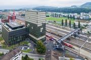 Das Suurstoffi-Areal beim Bahnhof Rotkreuz. (Bild: Patrick Hürlimann, 14. September 2019)