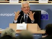 Der designierte EU-Aussenbeauftragte Josep Borrell stand dem EU-Parlament am Montag während drei Stunden Red und Antwort. (Bild: KEYSTONE/EPA/OLIVIER HOSLET)