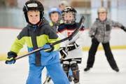 Ein zukünftiges Eishockeytalent? Teilnehmer der Eissportwoche versuchen ihre ersten Schritte auf dem Eis. (Bild: Donaro Caspari, Oktober 2016)