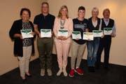 Die Clubmeister der verschiedenen Kategorien: Herlinde Keel, Werner Wessner, Barbara Keel, Sandro Sala Veni, Gaby Zurflüh und Max Alabor (von links). (Bild: PD)