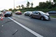 Der Schauplatz des Unfalls auf der A14. (Bild: Luzerner Polizei, 8. Oktober 2019)