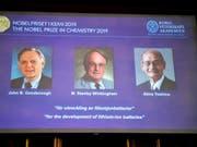 John B. Goodenough, M. Stanley Whittingham, and Akira Yoshino teilen sich den Nobelpreis für Chemie 2019. (Bild: KEYSTONE/EPA TT NEWS AGENCY/NAINA HELEN JAMA/TT)