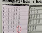 Provisorischer Fahrplan an der Bushaltestelle auf dem Bohl: Werktags haben sich die Abfahrtszeiten des Busses der Linie 6 ins Heiligkreuz wegen einer Baustelle in St.Georgen leicht verschoben. Neu fährt allerdings auch ein Bus um 20.62, 21.62, 22.62 und 23.62 ab. (Bild: PD - 1. November 2019)