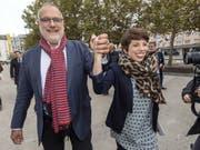 Die Grüne Lisa Mazzone und der Sozialdemokrat Carlo Sommaruga gewinnen die Ständeratswahlen im Kanton Genf. (Bild: KEYSTONE/MARTIAL TREZZINI)