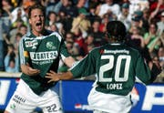 Zwei Schlüsselfiguren beim Auswärtssieg 2005 in Bern: Moreno Merenda (links) und Julio Lopez. (Bild: Keystone)