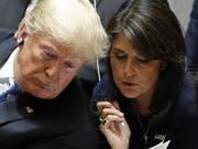 «Einen Präsidenten zu untergraben ist wirklich eine gefährliche Angelegenheit»: Nikki Haley, frühere US-Botschafterin bei der Uno. (Bild: KEYSTONE/EPA/JUSTIN LANE)