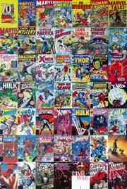 2009 kauft Disney für 4.3 Milliarden Dollar den Comic-Verlag Marvel. Und sicherte sich die Recht an all den oben abgebildeten Comic-Helden (Bild: Marvel)