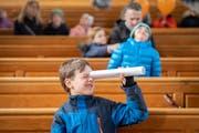 Wer genau hinsieht, entdeckt in der Kathedrale manch Neues. Hier am Volksfest im Stiftsbezirk St.Gallen. (Bild: Urs Bucher)