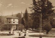 Die Voliere im St.Galler Stadtpark, gezeigt auf einer Aufnahme aus dem Stadtarchiv der Ortsbürgergemeinde St.Gallen. (Bild: PD)