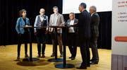 Von links: Eva Riedi, Urs Erb, Stefan Heggli, Gesprächsleiter Bruno Sidler, Lino Guzzella und Thomas Buchmann im Gespräch über Digitalisierung in Unternehmungen. Bild: Eddy Schambron