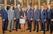 Der Schwyzer Regierungsrat inklusive Staatsschreiber. Bild: PD