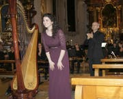 Die 23-jährige Joanna Thalmann zeigte an der Harfe ihr Können. (Bild: Vroni Krucker)