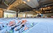 Im Einkaufszentrum Seepark schreiten die Umbauarbeiten voran. Im Obergeschoss zieht Cleverfit ein. Bild: Donato Caspari