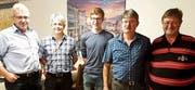Die erfolgreichsten Oberrieter Schützen der Saison 2019 (von links): Hans Graf, Peter Wagner, Fabrice Schmid, Bruno Streule und Eugen Wüst.Bild: pd