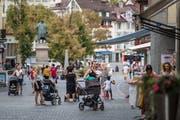 In der Stadt St.Gallen gibt es eine grosse Fussgängerzone, im ganzen Kanton Thurgau jedoch kaum eine. (Bild: Michel Canonica)