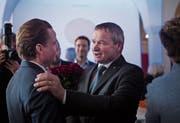 Zwei der fünf Regierungsräte: Alfred Stricker anlässlich der Wahl von Yves Noël Balmer.Bild: Benjamin Manser (Herisau, 10. Februar)