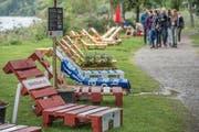 Liegestühle am Ufer des Sempachersees bei der Festhalle in Sempach: Eine der Attraktionen des Dynamo Sempachersee. (Bild: Pius Amrein, 8. September 2019)