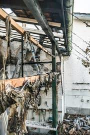 Bei der Wigoltinger Firma Provalora brannte ein Zwischenlager ab. Hauptsächlich das Dach und die Fassade sind betroffen. (Bild: Andrea Stalder)