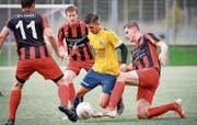 Zum Abschluss der Vorrunde kommt es im Cup zum Duell FC Uzwil – FC Bazenheid. (Bild: Ralph Ribi)
