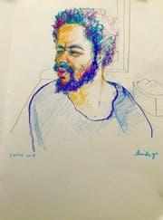 Brian K. alias Carlos hat sich mit Gewalt geweigert, in den Gerichtssaal zu kommen. Die Gerichtszeichnerin hat ihn aufgrund von Fotos porträtiert. (Zeichnung: Keysteone/Linda Graedel)