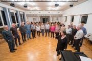 Eine Probe des Jodlerclubs St.Gallen im Kirchgemeindehaus Linsebühl: Die Probe vom 19. November ist offen für alle, die den Jodlerclub als Projektsänger am 27. und 28. Juni 2020 ans Eidgenössische Jodlerfest in Basel begleiten wollen. (Bild: Urs Bucher - 6. November 2015)