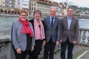 Sie stehen ab 2020 für zwei Jahre an der Spitze der Luzerner Landeskirche (von links): Annegreth Bienz-Geisseler (Vizepräsidentin des Synodalrats) und Renata Asal-Steger (Präsidentin des Synodalrats), Martin Barmettler (Präsident der Synode) und Benjamin Wigger (Vizepräsident der Synode). (Bild: PD)