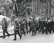 Der Männerchor Hellbühl 1947, damals noch als Schützenchörli, bei der Einsetzung von Parrer Meier. (Bild: PD)