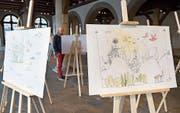 Vögel und Fische, Wolke und Welt – Thurry Schläpfers Malereien spielen mit der Fantasie. Bild: Eveline Beerkircher (Luzern, 7. November 2019)
