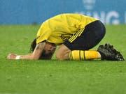 Arsenals Hector Bellerin zeigt seine Enttäuschung nach der Niederlage in Leicester (Bild: KEYSTONE/AP/RUI VIEIRA)