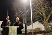 Fabian Rüegg (links) und Lino Businger freuen sich schon jetzt auf das Monster Muri, das im Klosterhof stattfinden wird. (Bild: Eddy Schambron)