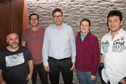 Der neue Vorstand (von links): Marco Traxel, Beat Infanger, Louis Camenzind, Corina Ferrari (Dirigentin) und Fabian Gisler. (Bild: Robi Kuster, 9. Februar 2019)