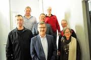 Der neue Gemeinderat Bürglen mit dem frisch gewählten Gemeindepräsidenten Kilian Germann (vorne Mitte). (Bild: Sabrina Bächi)