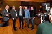 Der neu gewählte Arboner Stadtrat: Jörg Zimmermann, Luzi Schmid, Stadtpräsident Dominik Diezi, Didi Feuerle und Michael Hohermuth .