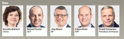 Korintha Bärtsch (Grüne), Roland Fischer (GLP), Jörg Meyer (SP), Fabian Peter (FDP), Rudolf Schweizer (Parteilose Schweizer)