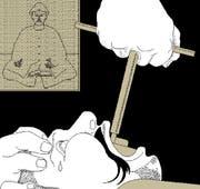 Wenn man sich im 17. Jahrhundert – wie hier der chinesische Kaiser durch den Zuger Johann Jakob Bossart – einen Zahn ziehen lassen musste, war das zuweilen recht schmerzhaft. Illustration: Lea Siegwart