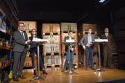 Sie alle wollen ins «Stöckli»: Benedikt Würth, Susanne Vincenz-Stauffacher, Mike Egger und Patrick Ziltener (von links).(Bild: Ruben Schönenberger)