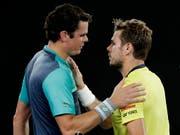 In Melbourne gewann Milos Raonic (li.) nach hartem Kampf gegen Stan Wawrinka. In Rotterdam kommts nun zur Revanche (Bild: KEYSTONE/AP/AARON FAVILA)