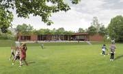 Ungefähr so wird sich ab April 2020 der neue Kindergarten Hemmerswil von Osten her präsentieren. (Grafik: Kaderli Architekten/PD)