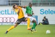 Kekuta Manneh (rechts, gegen Kevin Mbabu von den Young Boys) bestritt für St. Gallen in der Meisterschaft nur sieben Teileinsätze. (Bild: Urs Bucher)