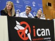 Die Stadt Genf folgt einem Aufruf der Anti-Atomwaffen-Organisation (Ican). 2017 wurde diese mit dem Friedensnobelpreis ausgezeichnet. (Bild: Keystone/MARTIAL TREZZINI)