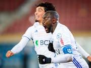 Cabral (im Vordergrund) erzielte für Lausanne-Sport das Siegtor gegen Kriens (Bild: KEYSTONE/VALENTIN FLAURAUD)