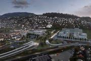 Das geplante Bypass-Südportal in Kriens. Visualisierung: PD