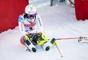 Enttäuscht am Boden nach dem missglückten zweiten Lauf: Wendy Holdener. (Bild: Sven Thomann/Freshfocus (Åre, 16. Februar 2019))