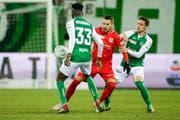 Goalgetter des Abends: Thuns Dejan Sorgic brachte sein Team bereits in der 16. Minute in Führung. In der 70. Minute erhöhte der Stürmer dann zum 0:3. (Bild: Freshfocus)